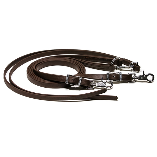 Black BioThane Loop Roper Rein with Popper. Horse Shoe Embossed Western Buckles.  Removable Thumb Touch Scissor Snaps.  All hardware is Stainless Steel