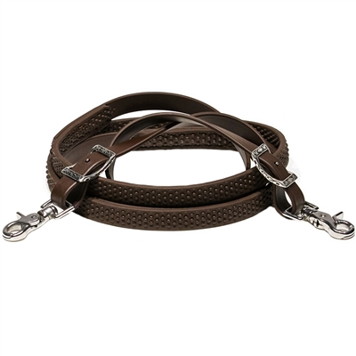 Bumpy Grip Roper Rein in BioThane Beta is soft. The Bumpy Beta Rein Grip is available in Black or Brown.  The BioThane to ends is available in lots of colors