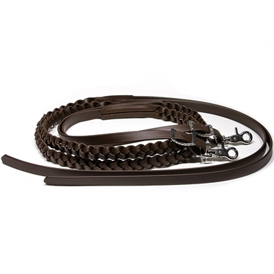 Hand Grip Braided Split Reins in BioThane Beta.  Available in all Beta Colors. Hand Grip Braid in Black, Choc Brown, Caramel and two-tone combos.
