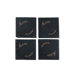 Rustic Holiday: Gilded Slate Coaster Set by Twine