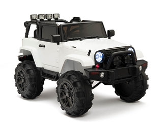 Kids 12V Battery Powered Ride On Truck with Full Doors and Big Wheels plus Remote Control - White