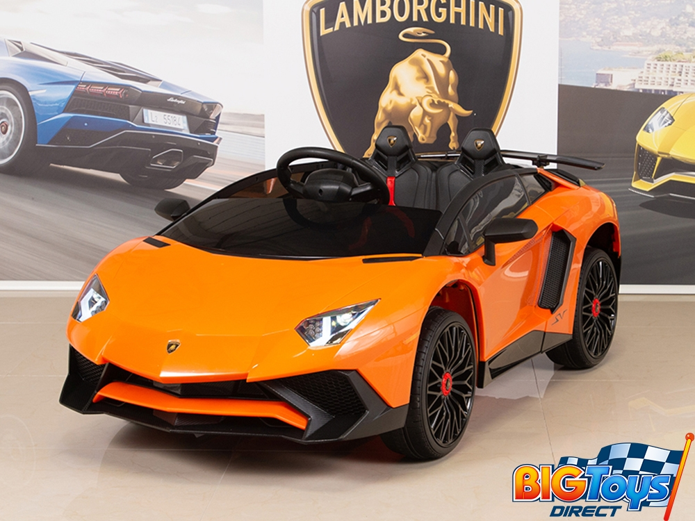Kids 12V Ride On Battery Powered Lamborghini Aventador SV Sports Car with  Remote , Orange