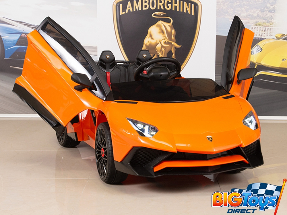 Lamborghini Aventador Orange >> Kids 12v Ride On Battery Powered Lamborghini Aventador Sv Sports Car With Remote Orange