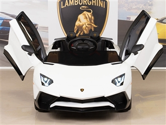 12V Kids Ride On Sports Car Electric Powered Lamborghini Aventador SV with Remote - White