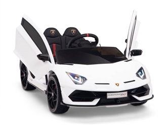 12V Kids Ride On Sports Car Battery Powered Lamborghini Aventador SVJ with Remote - White