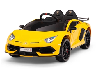 12V Kids Ride On Sports Car Battery Powered Lamborghini Aventador SVJ with Remote - Yellow