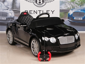 Bentley GTC 12V Kids Battery Powered Ride On Car with RC Remote and Floor Mat - Black