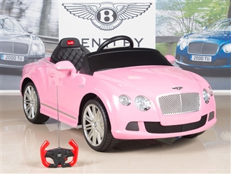 Bentley GTC 12V Kids Battery Powered Ride On Car with RC Remote and Floor Mat - Pink