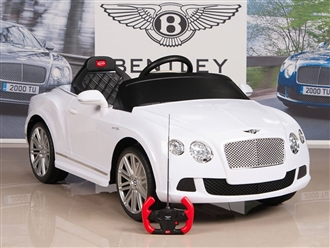 Bentley GTC 12V Kids Battery Powered Ride On Car with RC Remote and Floor Mat - White