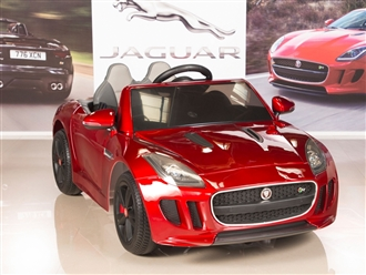 Jaguar F-TYPE 12V Electric Kids Ride On Car with RC Remote, Leather Seat, Painted Red
