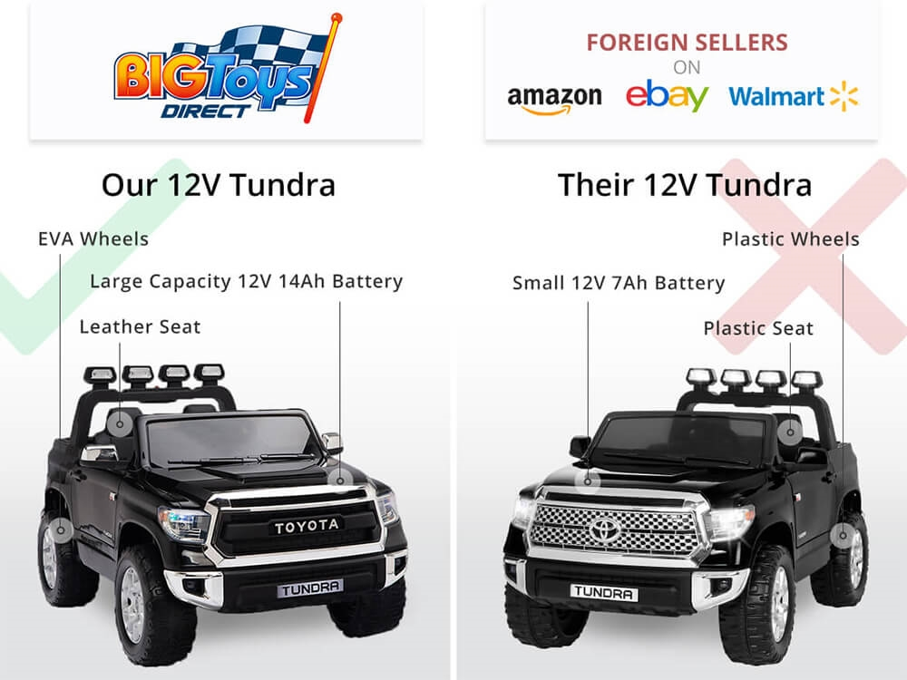 12v Kids Battery Powered Remote Control Special Edition Toyota Tundra Ride On Truck Black