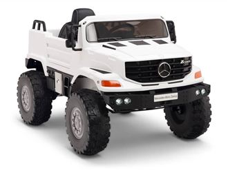 12V Mercedes Zetros One Seat Ride On Truck White
