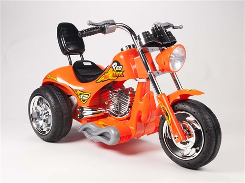 Kids 12V Red Hawk Motorcycle in Orange