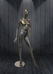 Glossy Female Egg Head Mannequin Grey