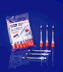 "Syringe, Insulin 1cc 29g x 1/2"", 100/box"