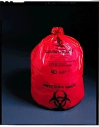 "Biohazard Bags, 24"" x 24"" 10 Gallon, Red, 250/case"