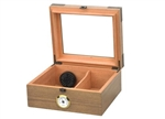 Newport 25-50 Cigar Glass Top With Humidifier and Front Mount Hygrometer in White Oak