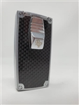 Rocky Patel Double Flame Nero Lighter - Chrome and Black Carbon Fiber Plate