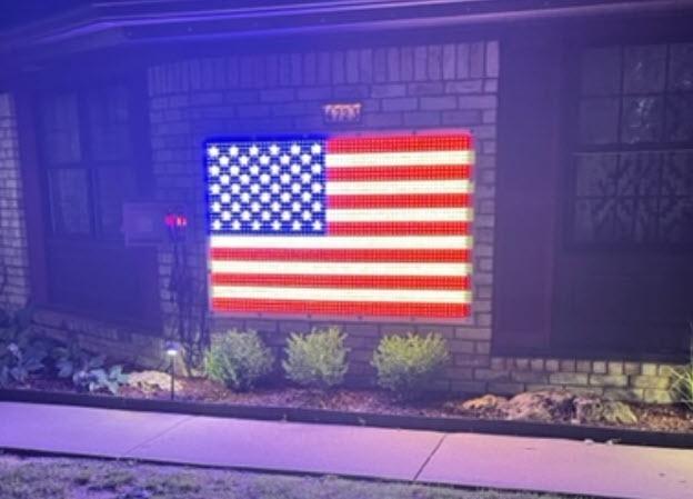 huge 4ft x 6ft animated american flag for mini lights