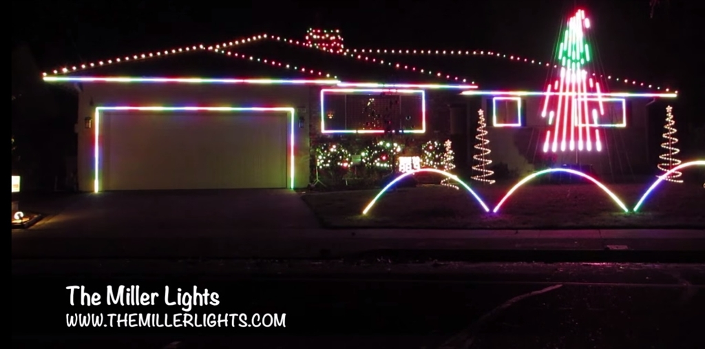 Rgb pixel house and roof outline house outline in rgb lights pixels strip ribbon lights 132 feet coverage aloadofball Images