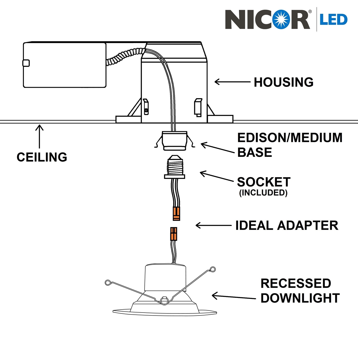 Ccx70rwhdh For Emergency Lighting Wiring Diagrams Diagram 4 Downlights Nicor Exit Sign Completed Diagramsnicor Dcr56 800lm Dimmable Recessed Led Downlight Elevator