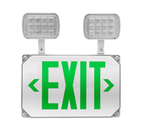 NICOR ECL51UNVWHG2 LED Wet Location Emergency Exit Sign with Adjustable Light Heads, Green Lettering