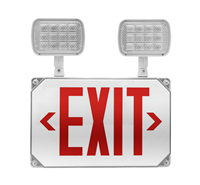 NICOR ECL51UNVWHR2 LED Wet Location Emergency Exit Sign with Adjustable Light Heads, Red Lettering