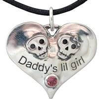daddy's lil girl with skulls pendant