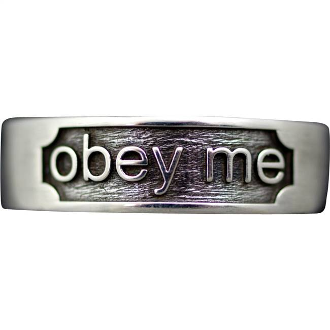 Obey me ring in tarnish resistant sterling silver.