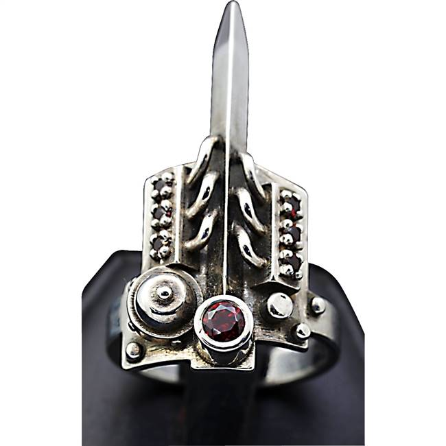 Steam punk ring in silver and garnet.