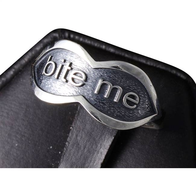 silver bite me ring