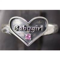 Babygirl ring in sterling silver and pink tourmaline.