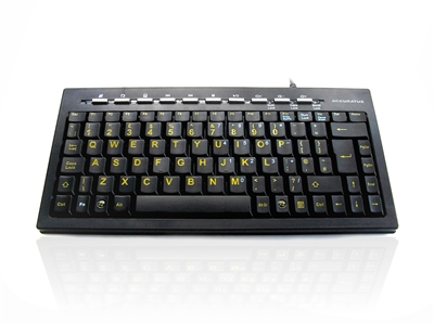 KYB-MINIHIVIS - Accuratus Mini Hivis - USB Mini Multimedia Keyboard with High Visibility Legends and Multimedia Keys