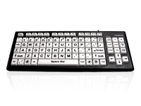 KYB-MON2BLK-UCUH - Accuratus Monster 2 - USB High Contrast Vision Impairment Keyboard with Extra Large Keys & 2 Port USB Hub