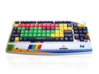 KYB-MON2ELW-LCUH - Accuratus Monster 2 - USB Early Learning Keyboard with Extra Large Keys & 2 Port USB Hub & Printed Child Friendly Design