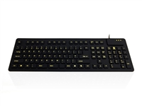 Accuratus WP127 V2 - USB & PS/2 Full Size IP54 Sealed Flexible Roll Up Silicone  Keyboard with High Visibility Key Legends