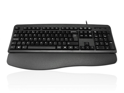 KYBAC201R-PS2BLK - Accuratus 201R - PS/2 Slim Full Size Keyboard with Durable Design & Detachable Wrist Rest
