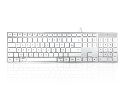 KYBAC301-UMAC-FR - Accuratus 301 MAC - USB Wired Full Size Apple Mac Multimedia Keyboard with White Square Tactile Keys and Silver Case - FRENCH Layout