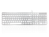 KYBAC301-UMAC-GR - Accuratus 301 MAC - USB Wired Full Size Apple Mac Multimedia Keyboard with White Square Tactile Keys and Silver Case - GERMAN Layout