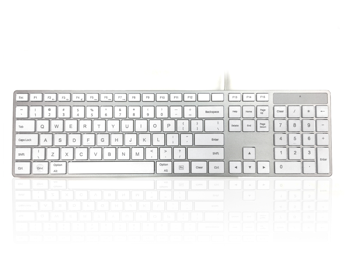 Accuratus 301 MAC - USB Wired Full Size Apple Mac Multimedia Keyboard with  White Square Tactile Keys and Silver Case - US English Keyboard Layout