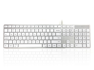 KYBAC301-UMAC-US - Accuratus 301 MAC - USB Wired Full Size Apple Mac Multimedia Keyboard with White Square Tactile Keys and Silver Case - US English Layout