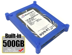 MaxDigitalData® 500GB USB 3.0 Portable External Hard Drive - Blue (MacOS Pre-Formatted) - w/2 Year Warranty