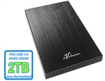 Avolusion HD250U3 2TB USB 3.0 Portable External Gaming PS4 Hard Drive - Black (PS4 Pre-Formatted) - Retail w/2 Year Warranty