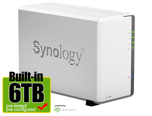 Synology DS216J 6-Terabyte (6TB) 2-Bay Gigabit iSCSI NAS Server for Small  Office & Home (Powered by new Seagate 3TB ST3000VN000 Hard Drives x 2) -