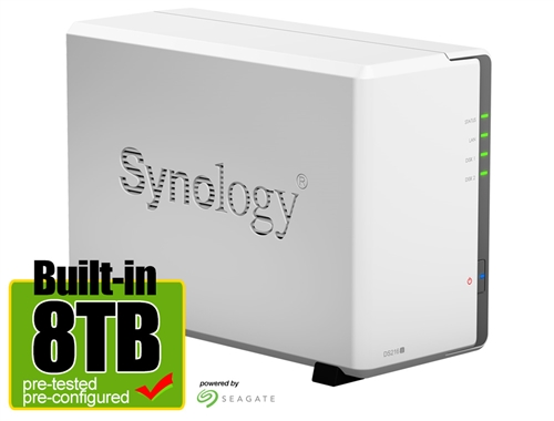 Synology DS216J 8-Terabyte (8TB) 2-Bay Gigabit iSCSI NAS Server for Small  Office & Home (Powered by new Seagate 4TB ST4000VN008 NAS Hard Drives x 2)  -