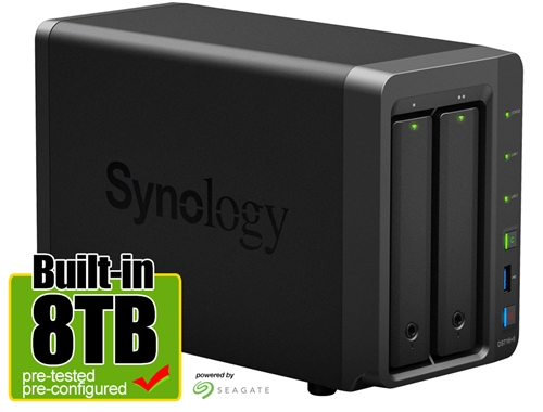 Synology DS716+II 8-Terabyte (8TB) High-performance & Scalable 2-Bay  Gigabit iSCSI All-in-one RAID 0/1 NAS Server for Home and Small Business  (Powered