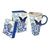I love this Floral Design Latte Travel Mug with matching box for easy gifting | Dishwasher & Microwave safe | LaBelle's General Store