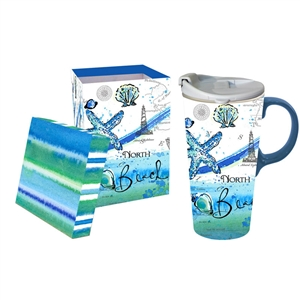 The beach girl in me loves this North Beach designed travel mug, and the matching box for easy gifting is so pretty! | Dishwasher & Microwave safe | LaBelle's General Store
