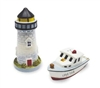 Cape Cod Lighthouse & Boat Salt & Pepper Shakers