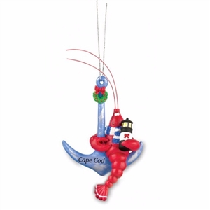 love this cute lobster curled up on an anchor! | Cape Cod Lobster Anchor Ornament | LaBelle's General Store